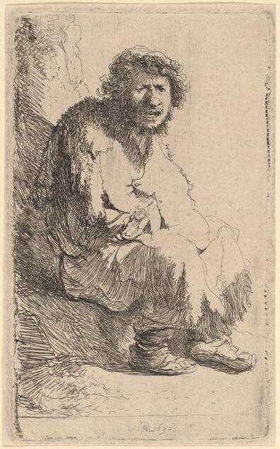 Rembrandt van Rijn, 'Beggar Seated on a Bank', 1630