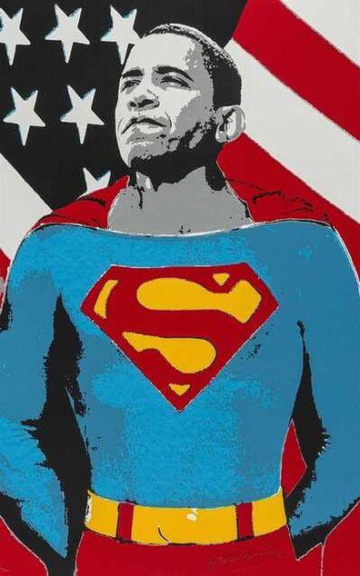 Mr. Brainwash, 'Obama Superman (Silver)', 2009