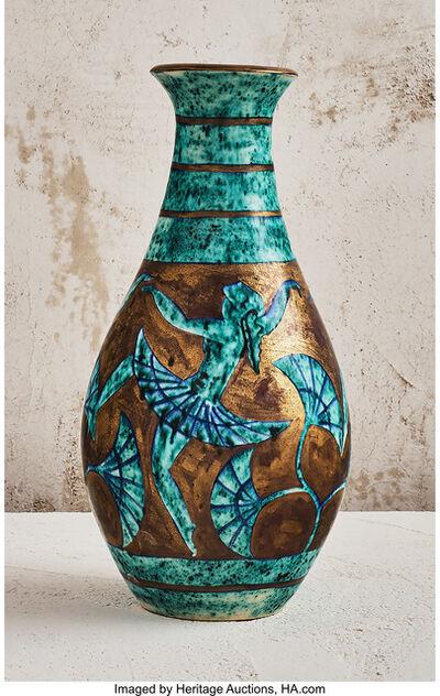 Édouard Cazaux, 'Turquoise Vase with Dancers', circa 1940
