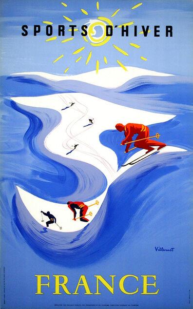 Bernard Villemot, 'Winter Sports in France - Skiing - Sports D'Hiver', 1955
