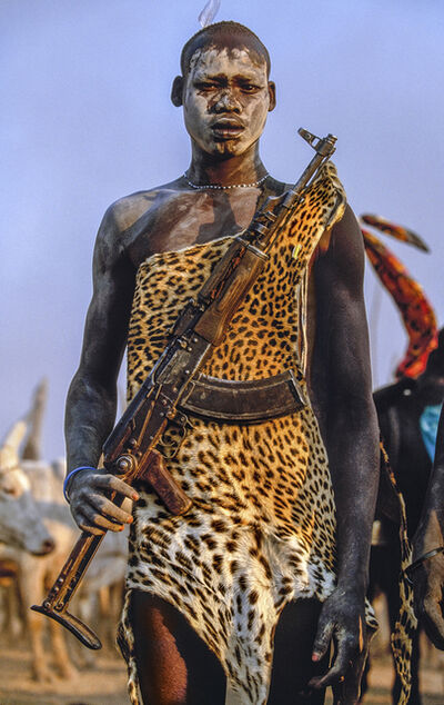 Carol Beckwith and Angela Fisher, 'Dinka Warrior with Leopard Skin and Kalashnikov Rifle, South Sudan', 2006