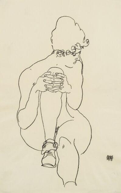 Egon Schiele, 'Sitzender Akt mit hochgestelltem rechten Knie, nach rechts blickend (Seated Nude with Right Knee Raised, Looking to the Right)', 1918