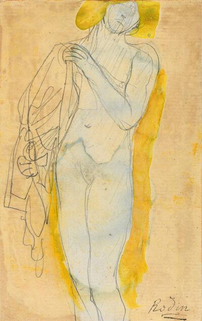 Auguste Rodin, 'emme nue à la chevelure blonde tenant un costume', ca. 1890