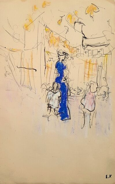 Édouard Vuillard, 'Lucie Hessel à La Montagne avec Annette et Jacques, Verso: Study of a Mirror  ', 1903
