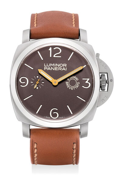Panerai, 'An very fine and rare limited edition stainless steel wristwatch with 8-day Angelus movement, power reserve, guarantee and presentation box, numbered 111 of a limited edition of 150 pieces', Circa 2005