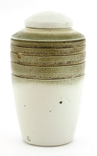 Jack Doherty, 'a two-tone glazed jar and cover, with horizontal bands with impressed circles,'