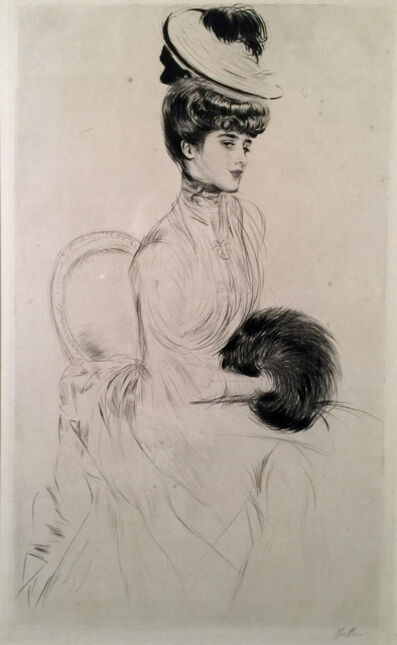 Paul César Helleu, 'MADAME ANLIS AVEC MANCHON ASSISE (Madame Anlis Seated with a Muff). ', ca. 1900