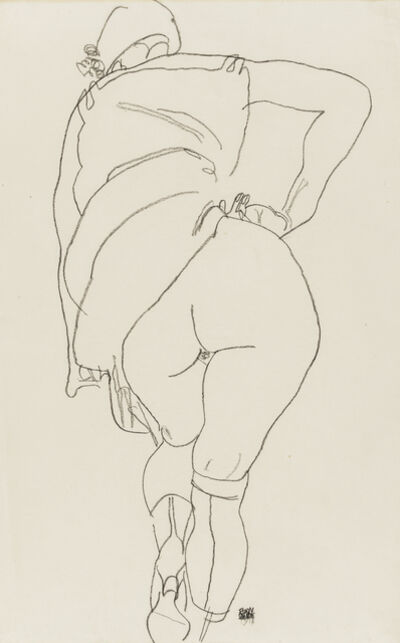 Egon Schiele, 'Semi-Nude, Back View', 1918