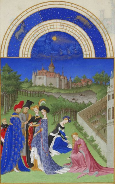 Limbourg Brothers, 'April, miniature from the Très Riches Heures', ca. 1411-1416