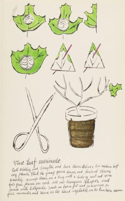 Andy Warhol, 'Vine Leaf Marinade (from Wild Raspberries) (see Feldman & Schellmann IV.141.A)', 1959
