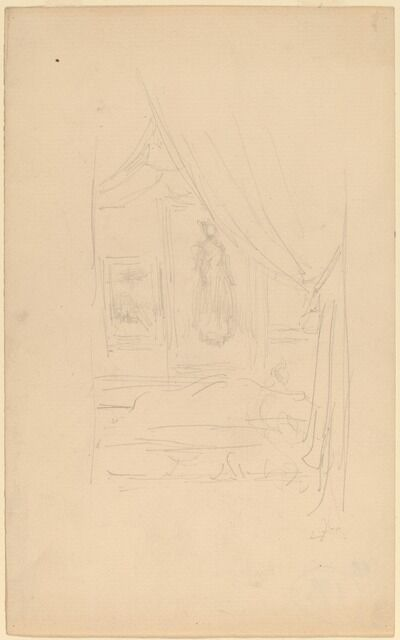 James Abbott McNeill Whistler, 'Sketch of Mrs. Godwin's Portrait when hung at the Society of British Artists', 1886/1887