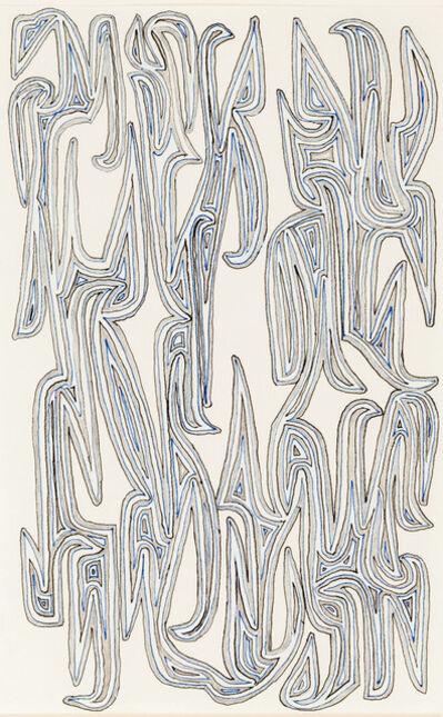 James Siena, 'Connected Parallel Hooks, (Blue, Black, Grey)', 2015