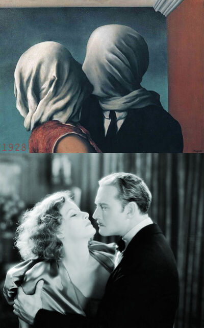 Bonnie Lautenberg, '1928, The Mysterious Lady - Rene Magritte, The Lovers ', 2018
