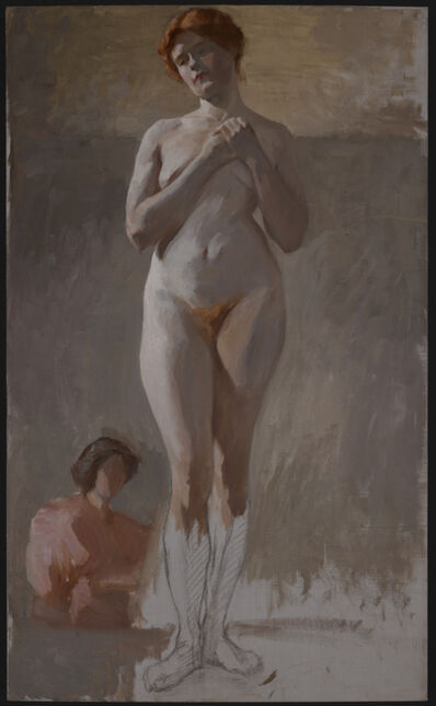 Florine Stettheimer, 'Nude Study, Standing with Hands Clasped', Late 1890s