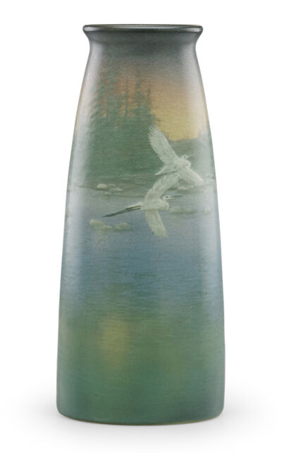 Kataro Shirayamadani, 'Large Scenic Vellum vase with flying cranes, Cincinnati, OH', 1910