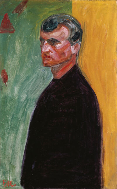 Edvard Munch, 'SELF-PORTRAIT AGAINST TWO-COLOURED BACKGROUND', 1904