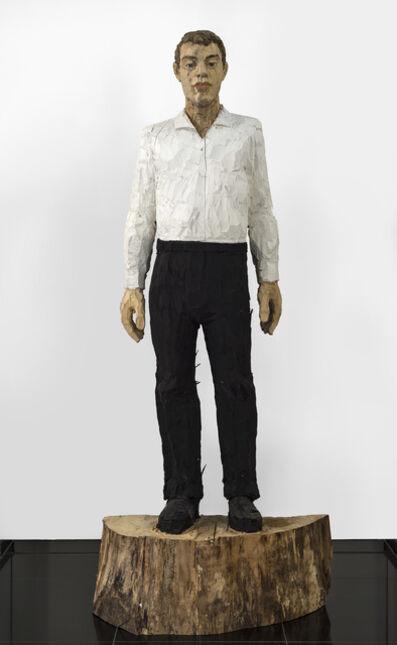 Stephan Balkenhol, 'Grosser Mann, schwarz-weiss (Tall Man, black and white)', 2017