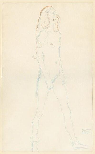 Gustav Klimt, 'Akt eines jungen Madchens (Rot und Blaustift). Nude of a young girl (red and blue pencil).', 1919