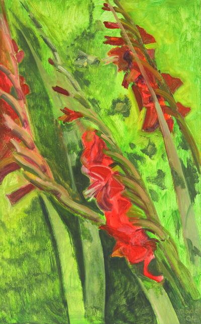 Lois Dodd, 'Red Gladioli', 2004
