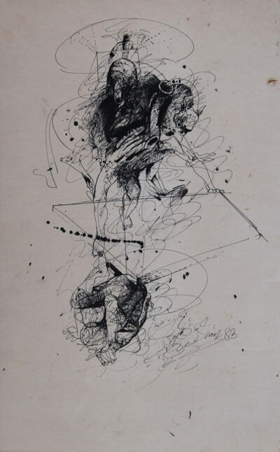 Sunil Das, 'Rare Early Drawing II, Nude, Figurative, Pen & Ink on paper by Bengal Artist Sunil Das', 1983