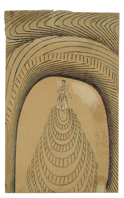 Martín Ramírez, 'Untitled (Collaged Woman Atop Tiered Mound)', 1953