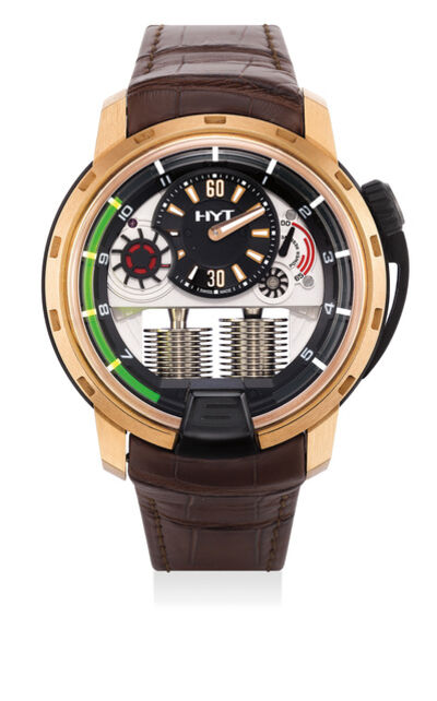 HYT, 'A fine and rare pink gold and titanium semi-skeletonized wristwatch with retrograde fluorescent liquid capillary time indicator, power reserve indicator, international warranty certificate and presentation box', Circa 2012