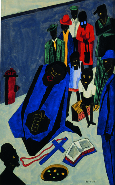 Jacob Lawrence, 'In the evening evangelists preach and sing on street corners', 1943