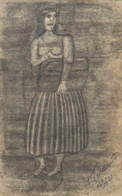 Adalbert Trillhaase, 'Untitled (Figure Clutching Valise) Self-taught, Outsider Art', 1921