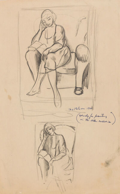 Lorser Feitelson, 'Woman Reading and Figure Studies (a double sided work)', 1920