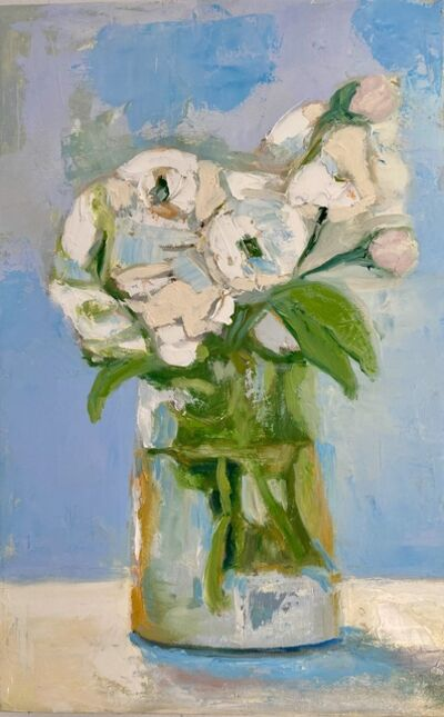 "Anne Harney, ' ""Roses and Peonies"" oil painting of pink roses and white peonies in a glass vase', 2020"