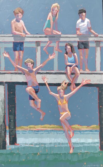 """Paul Norwood, '""""Deep Blue"""" impasto painting of kids jumping from bridge into blue water', 2019"""