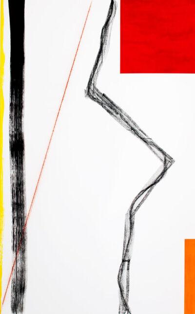 Francisco Ugarte, 'Sin Título (Óleo amarillo, óleo rojo, óleo naranja, acrílico negro, tiralíneas rojo, grafito, carboncillo y gesso sobre un bastidor de lino de 162 x 100 cm)', 2019