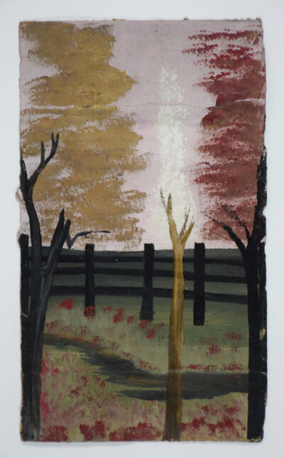 Frank Walter, 'Fence and Broken Trees with Pink Sky', 1926 -2006