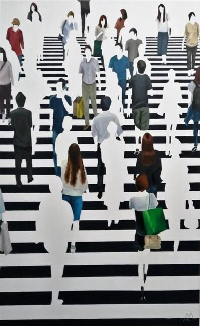 "Martta García Ramo, '""Imaginacion Por Aproximacion"" oil painting of pedestrians on black and white crosswalk', 2020"