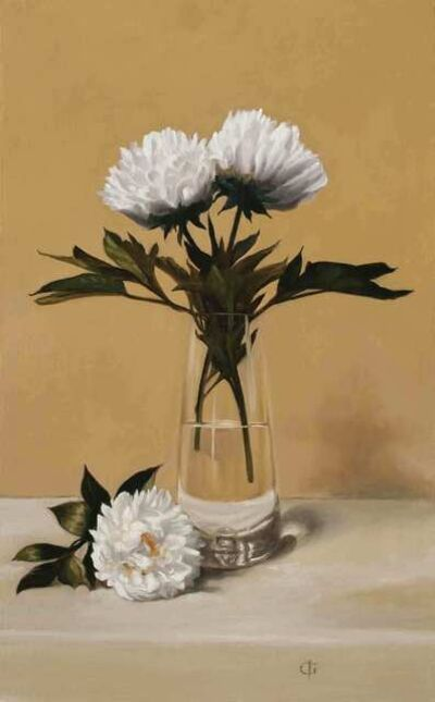 James Gillick, 'White Peonies in a Tall Glass Vase', 2019