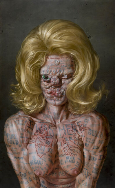 Christian Rex van Minnen, 'DIAMONDS AND SELF PORTRAIT WITH LIVE INSTAGRAM VIDEO COMMENT TATTOOS AND BATTLE RAPPER BREASTS', 2019