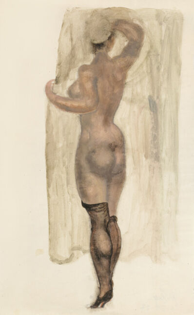 Alfons Walde, 'Nude from the Back with Black Half Stockings', ca. 1919