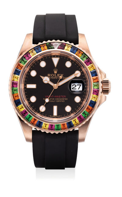 Rolex, 'A very fine and unusual pink gold, diamond, tsavorite and sapphire-set wristwatch with center seconds, date, guarantee and presentation box', Circa 2018