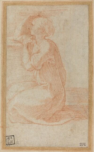 Francesco Mazzola, called Parmigianino, 'Kneeling Woman Lifting Her Hand to Her Head', in or after 1531