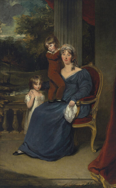 Thomas Lawrence, 'Portrait of Lady Louisa Harvey, full-length, and her children Edward and Louisa, on a balcony'