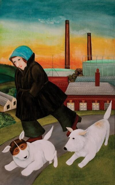 Beryl Cook, 'Woman with Dogs on the Hoe'