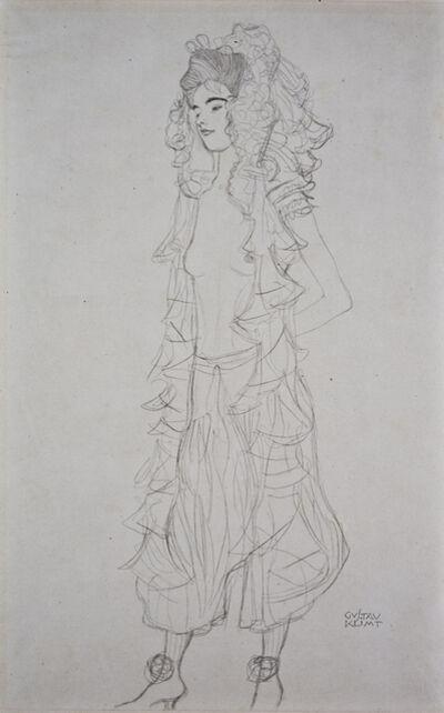 Gustav Klimt, 'Standing Girl with Lace Headdress [Fünfundzwanzig Handzeichnungen]', 1919