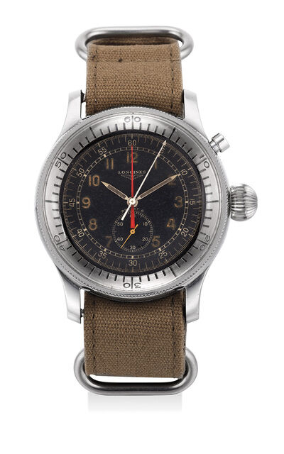 Longines, 'A rare and attractive stainless steel oversized single button flyback chronograph pilot's wristwatch with black military dial and central register', 1956