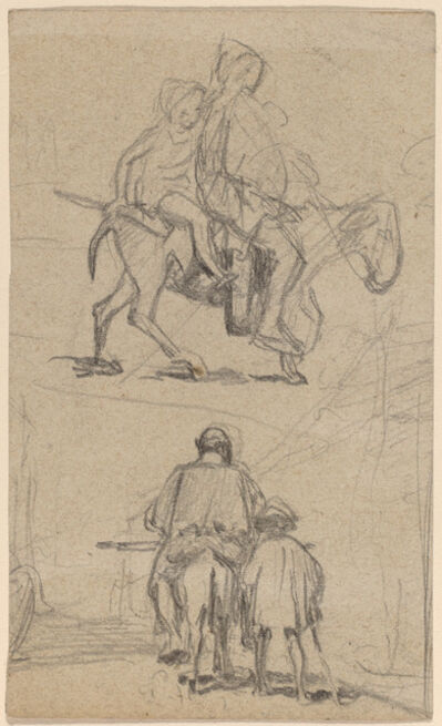 Elihu Vedder, 'Father, Son, and Donkey', ca. 1859