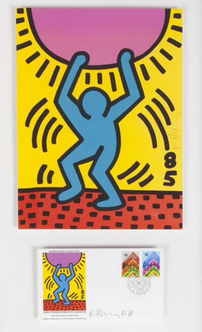 Keith Haring, 'International Youth Year, First Day Of Issue, WFUNA', 1984