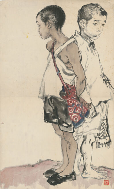 Li Jin 李津, 'Figure Study of Two Schoolboys 造型练习:两个上学郎', 1981