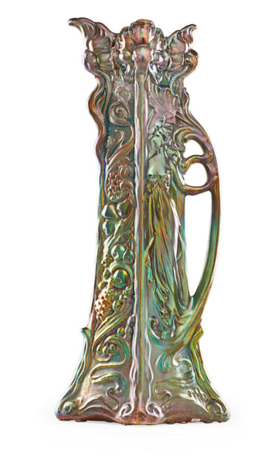 Weller Pottery, 'Large pitcher with maiden and grape clusters', 1903-17