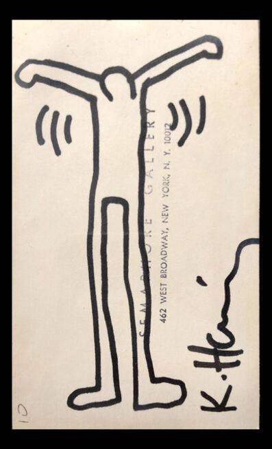 Keith Haring, 'Untitled (Ink Drawing on Semaphore Gallery Card)', 1984