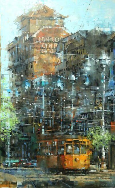Mark Lague, 'Orange Trolley on Mission Street'