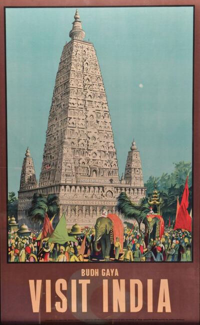 Vintage Travel Poster, 'Visit India, Budh Gaya', c. 1950's
